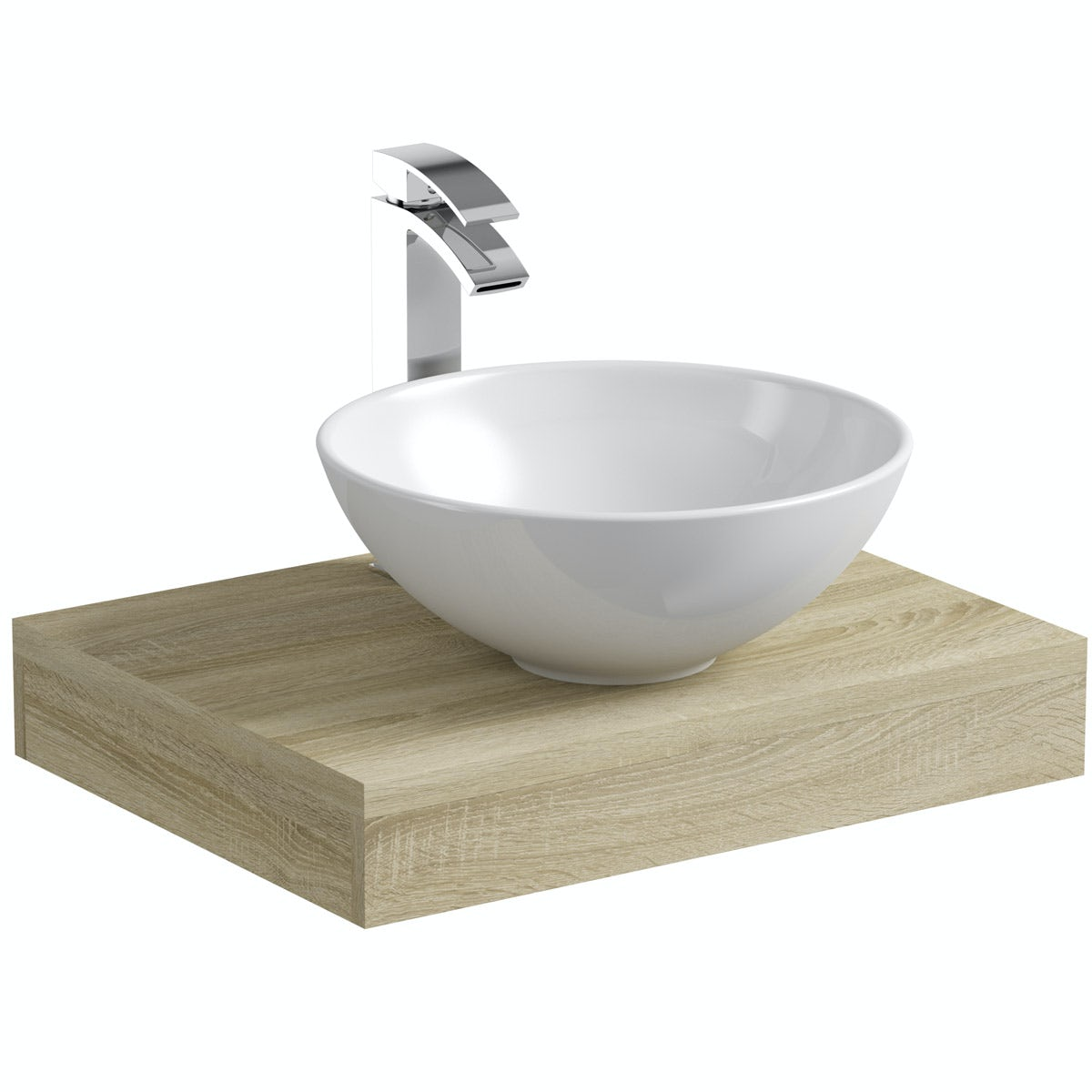 Mode Orion oak countertop shelf with Derwent basin, tap and waste
