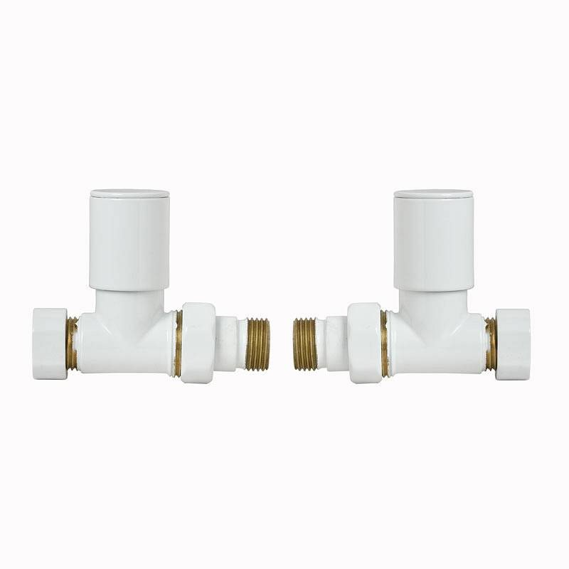 White Straight Radiator Valves