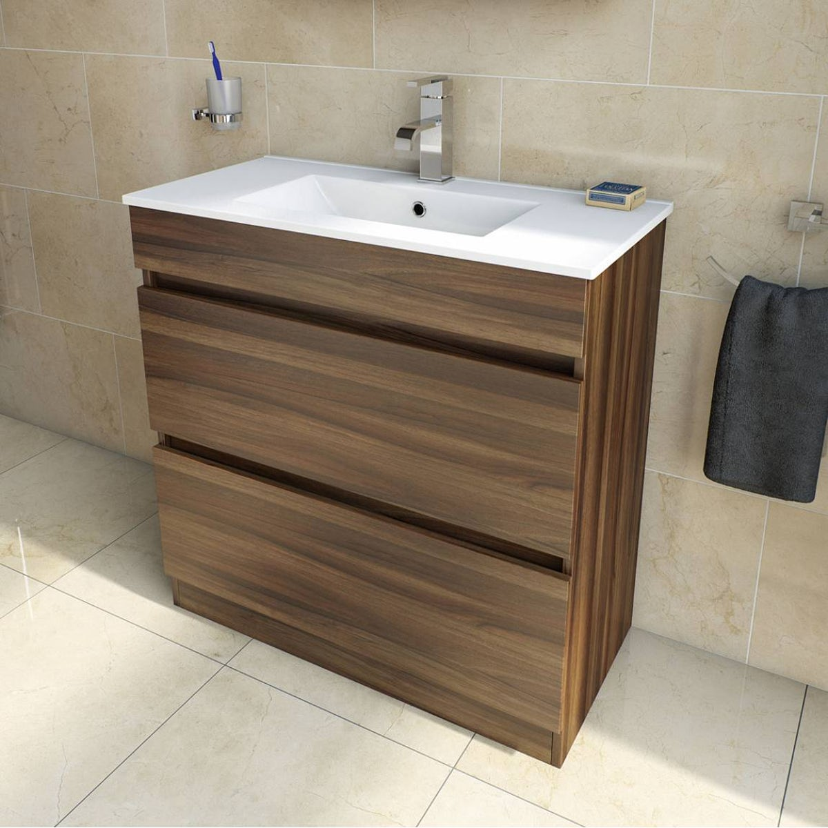 Plan walnut vanity drawer unit and basin 800mm for Bathroom cabinets 800mm wide