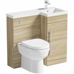 MySpace oak right handed unit with Energy back to wall toilet