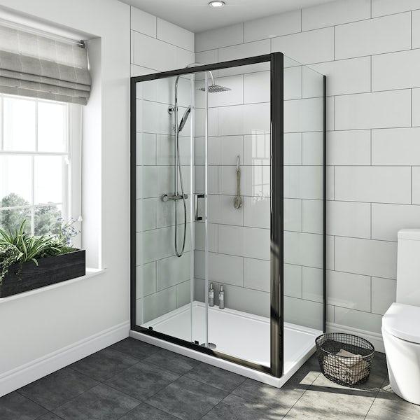 SmarTap black smart shower system with Mode black shower enclosure 1200 x 800