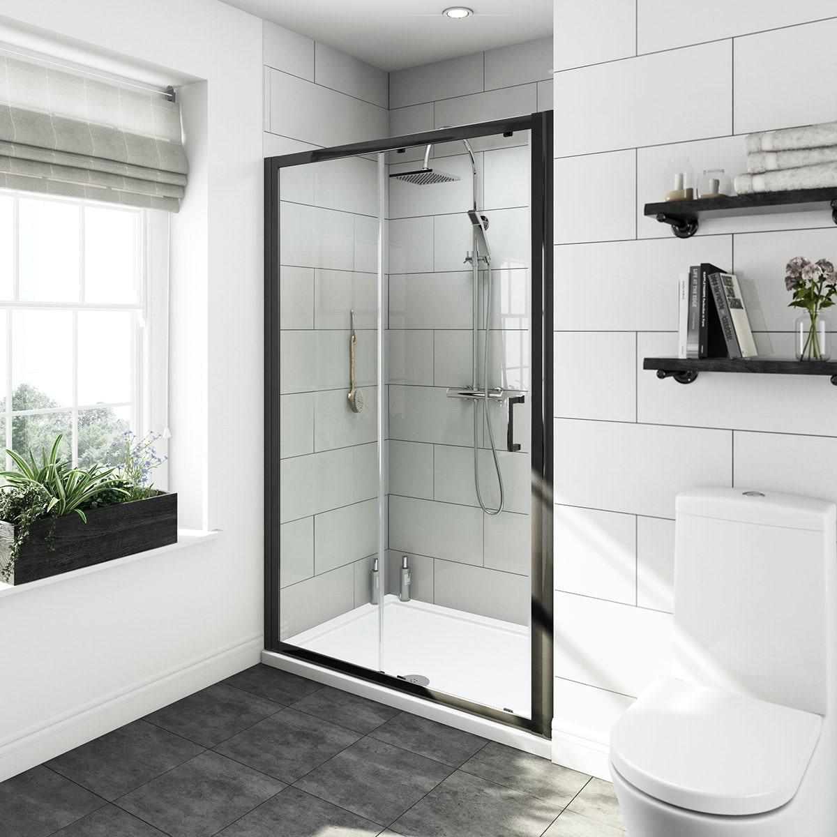 & Mode Tate black 6mm sliding shower door 1200mm | VictoriaPlum.com