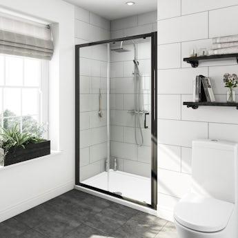 Mode Tate black 6mm sliding shower door 1200mm