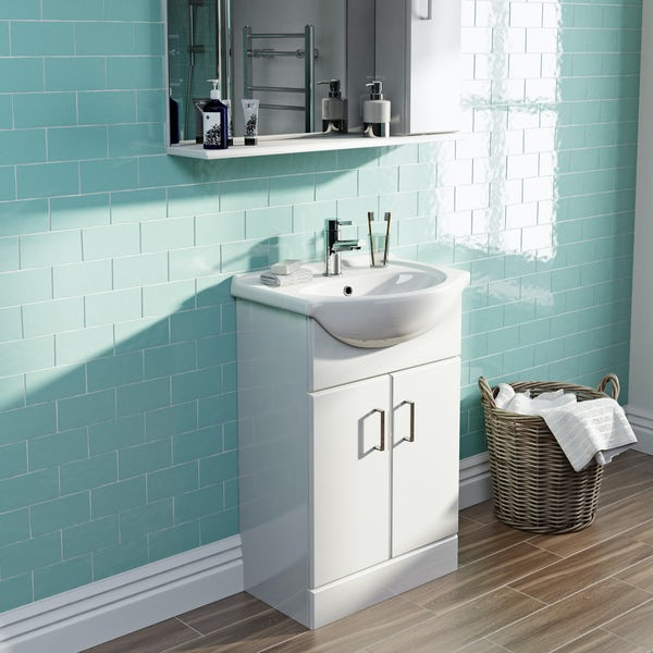 Eden white vanity unit and basin 550mm