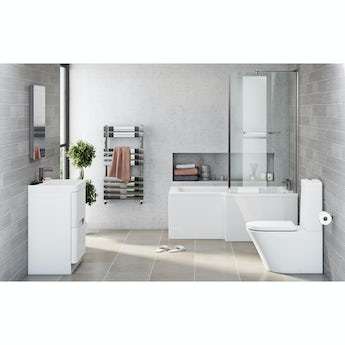 Mode Arte right hand shower bath 1700 x 850 suite with Ellis white floor drawer unit