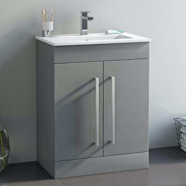 Orchard Derwent grey vanity door unit and basin 600mm