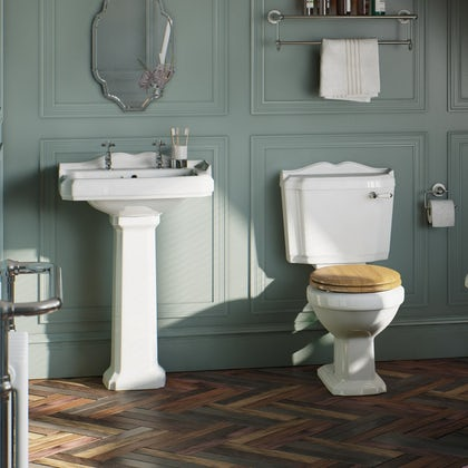 The Bath Co. Winchester cloakroom suite with oak seat and full pedestal basin 600mm with tap and waste