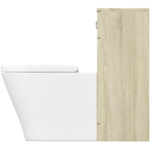 Eden oak slimline back to wall unit with Mode Arte toilet