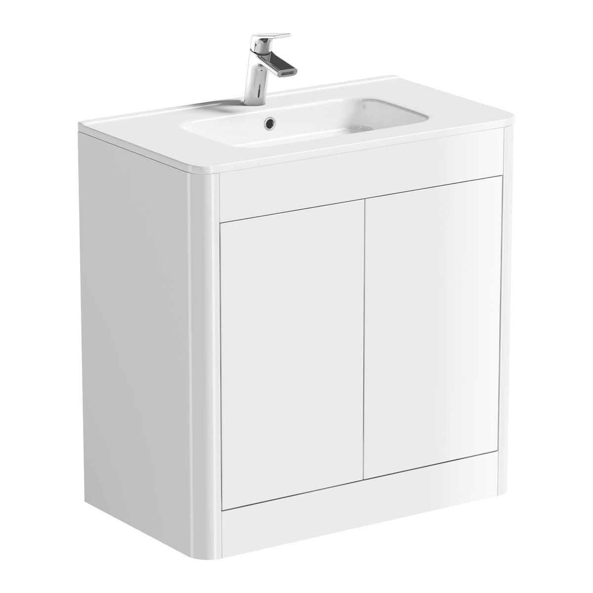 Mode Carter ice white floor mounted vanity unit and basin 800mm