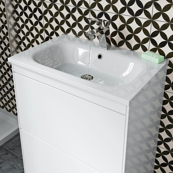 Mode Austin white floor standing unit and stone basin 600mm