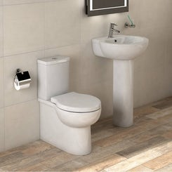 Madison close coupled toilet and full pedestal basin suite 540mm
