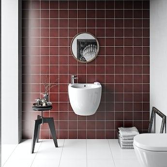 Patchwork plain red matt tile 142mm x 142mm