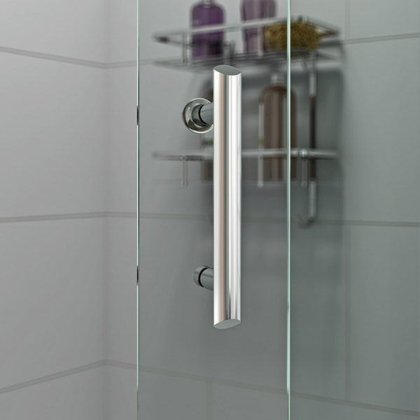 6mm rectangular pivot shower enclosure with stone shower tray