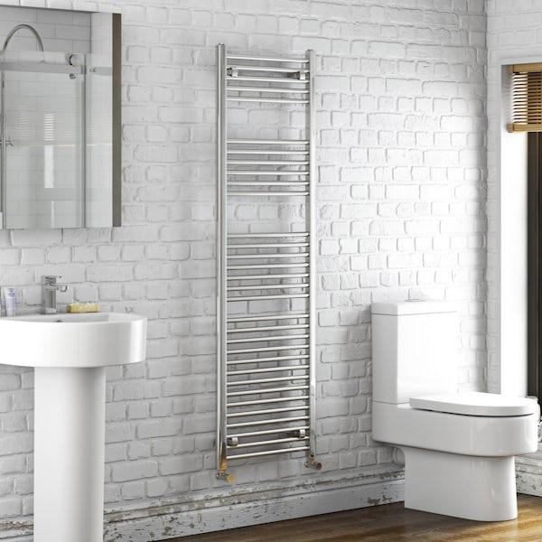 Eden round heated towel rail 1600 x 500
