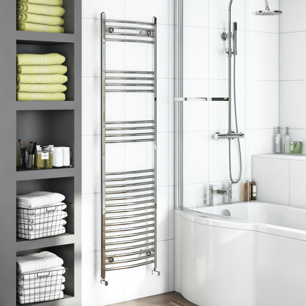 Curved Heated Towel Rail 1650 x 450