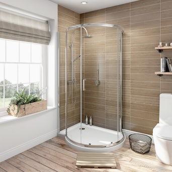 6mm Keyhole Quadrant Enclosure 1000x900 LH with Shower Tray