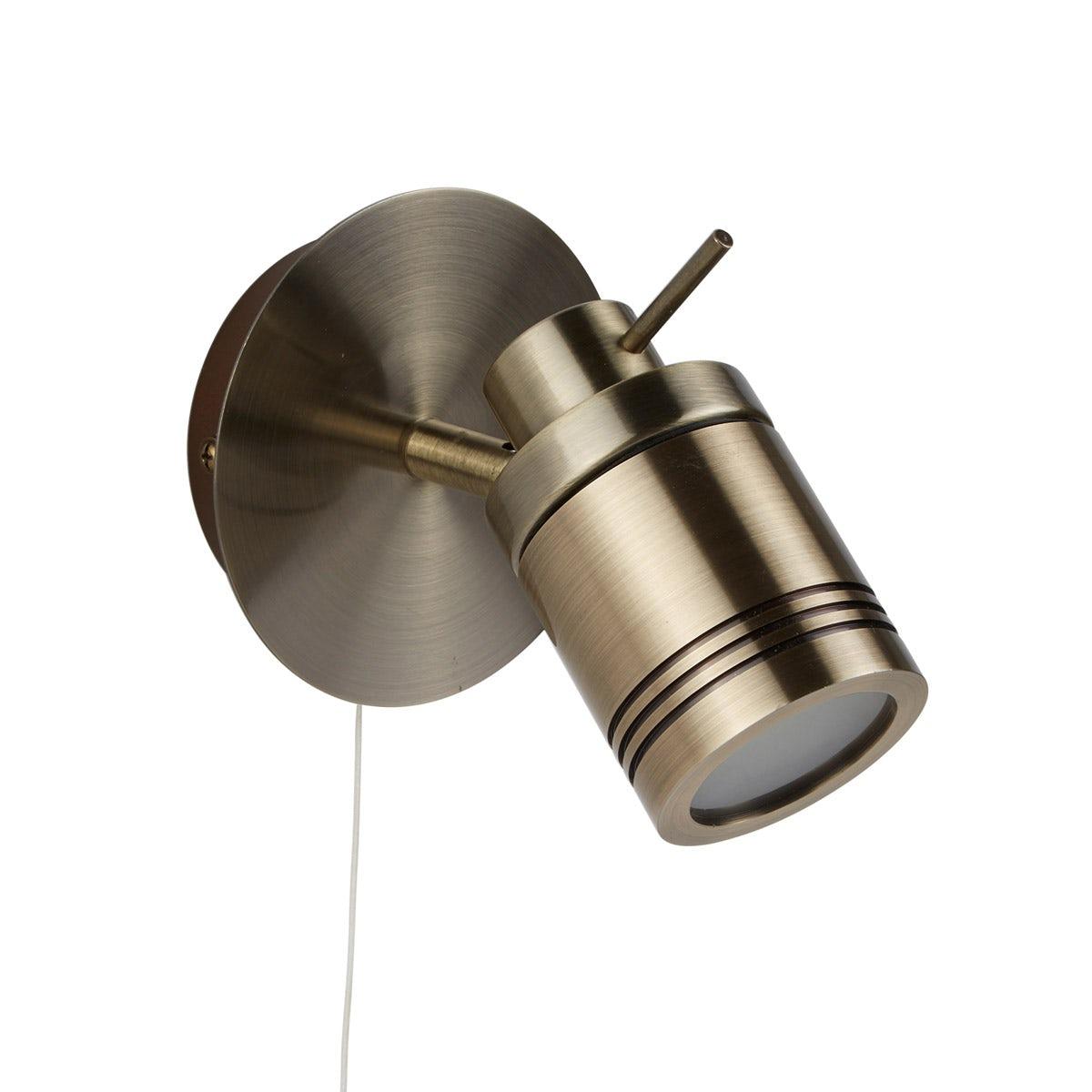 Searchlight Samson antique brass bathroom wall light