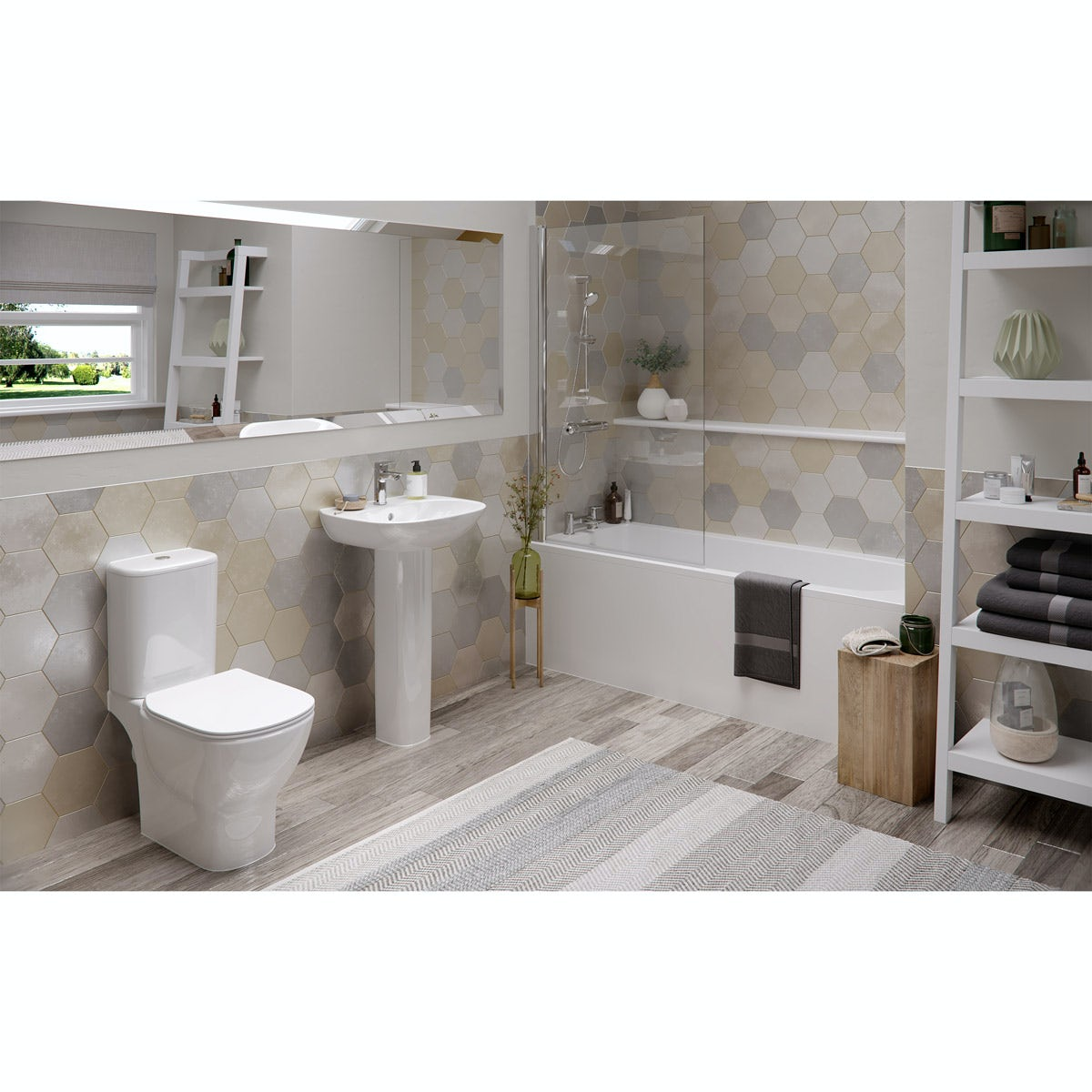 Ideal Standard Tesi complete bathroom suite with straight bath, bath screen, taps, shower, panel and waste