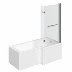Boston right handed L shaped shower bath 1500mm with 8mm hinged shower screen and rail