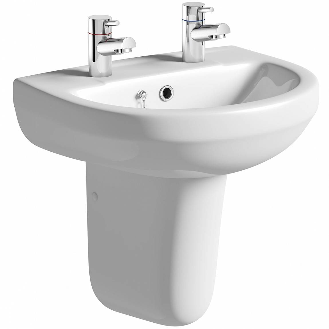 Orchard Wharfe 2 tap hole semi pedestal basin 550mm with waste