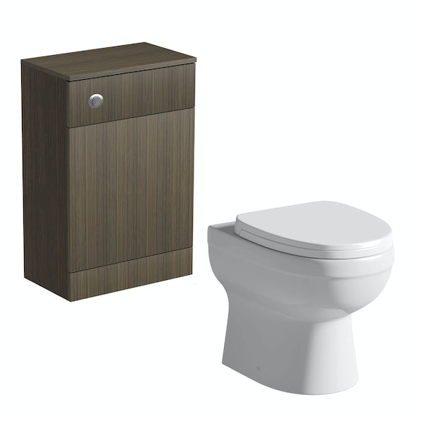 Wye walnut back to wall toilet unit with Eden back to wall toilet