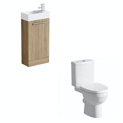 Compact oak floor standing unit with Energy close coupled toilet
