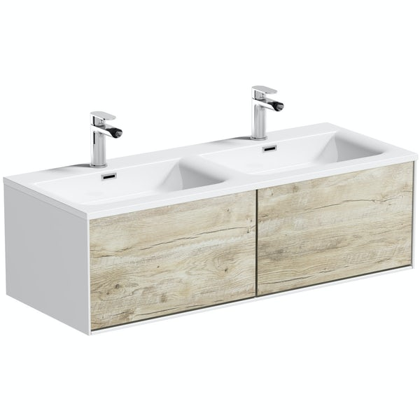 rustic oak bathroom furniture. Mode Burton White  Rustic Oak Wall Hung Double Basin Vanity Unit 1200mm