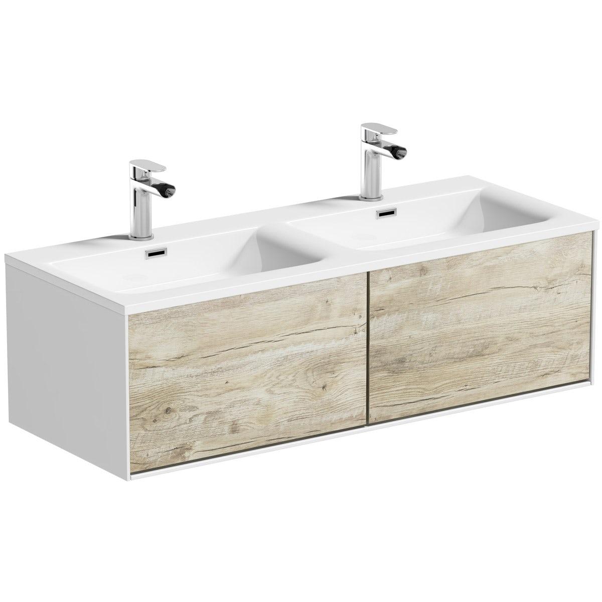 Mode Burton White U0026 Rustic Oak Wall Hung Double Basin Vanity Unit 1200mm