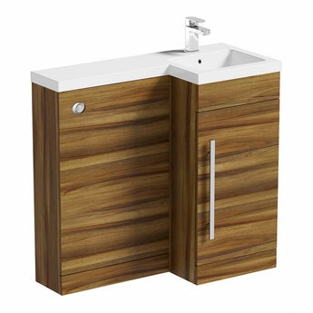 MySpace walnut right handed unit including concealed cistern