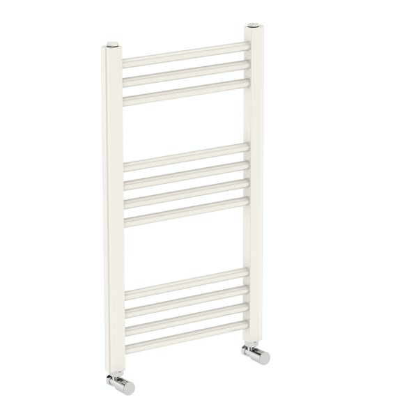 Eden round white heated towel rail 700 x 400 offer pack