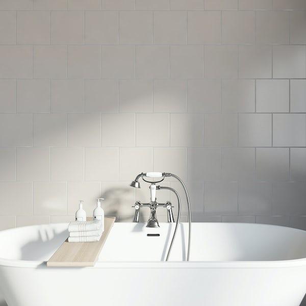 Studio Conran plain putty gloss tile 198mm x 198mm