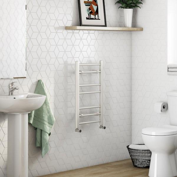 Clarity white heated towel rail 700 x 400