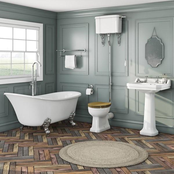 Elegant Elsie bath + Camberley basin 2th + Camberley high level oak