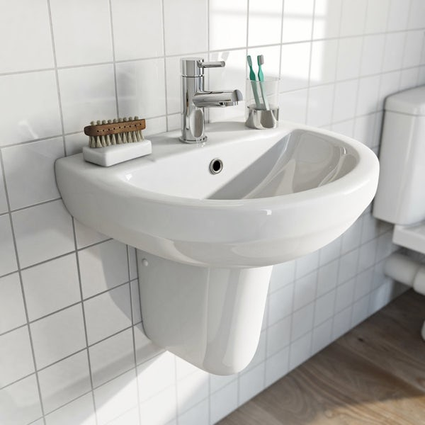 Eden 1 tap hole semi pedestal basin 550mm