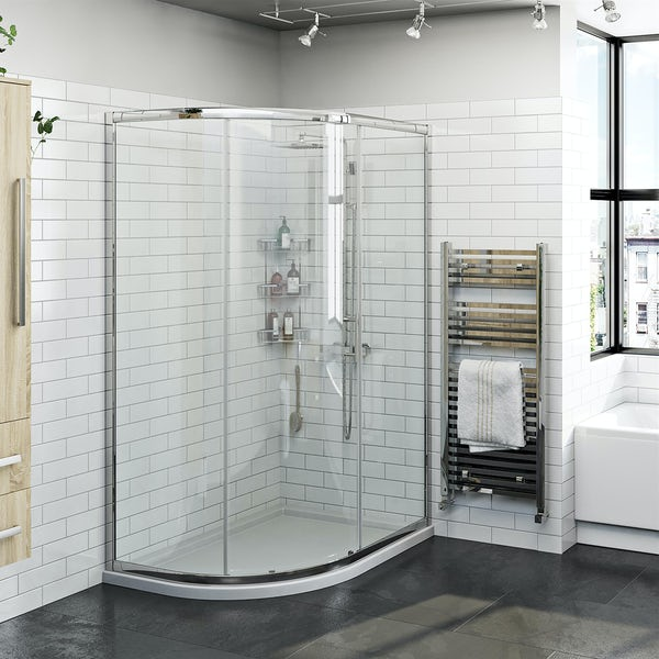 Orchard 6mm left handed offset quadrant shower enclosure and stone shower tray