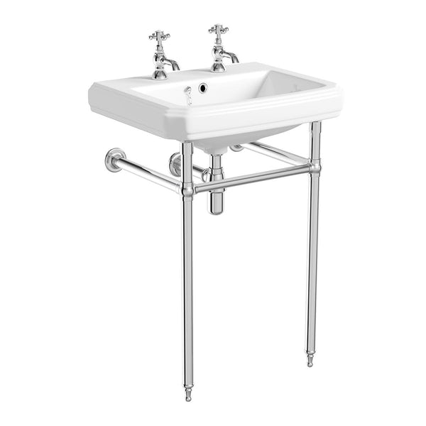 The Bath Co.Dulwich oak bathroom suite with freestanding shower bath