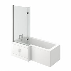 MySpace water saving L shape shower bath left hand with storage panel & 8mm luxury hinged screen