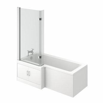 Ellis water saving left handed L shape shower bath with 8mm luxury screen