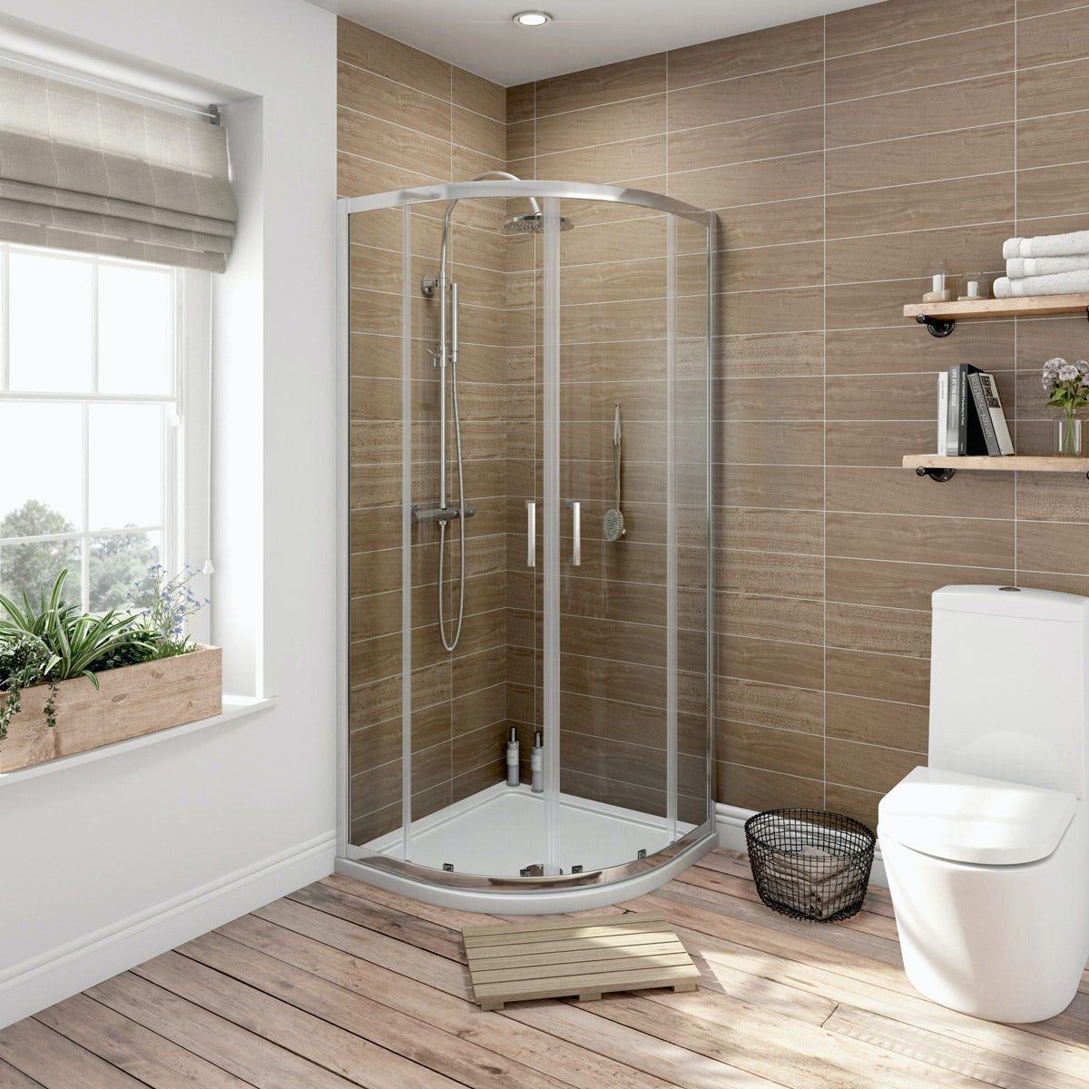 6mm sliding door quadrant shower enclosure