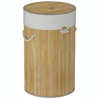 Natural bamboo round laundry basket