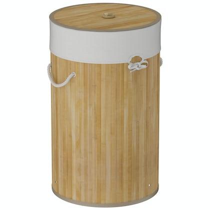 Natural bamboo round laundry basket