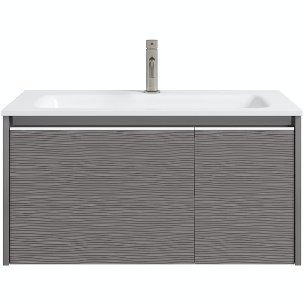 Mode Banks textured lava stone matt wall hung vanity unit 800mm