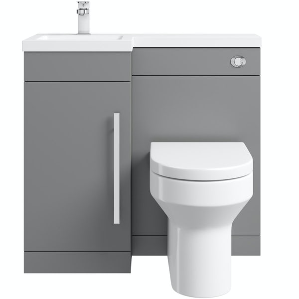 Orchard MySpace grey left handed combination unit with Wharf toilet