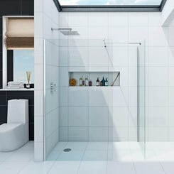 Luxury 8mm wet room enclosure glass panel pack 1000 x 800