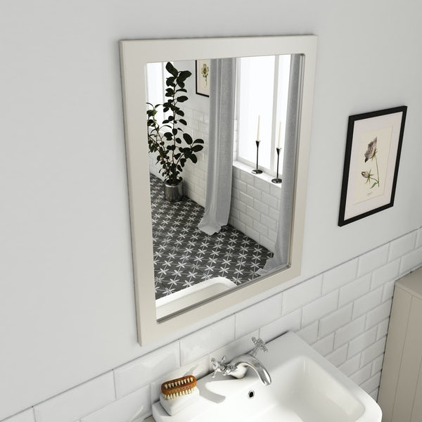 The Bath Co. Dulwich stone ivory semi recessed vanity unit and mirror 600mm