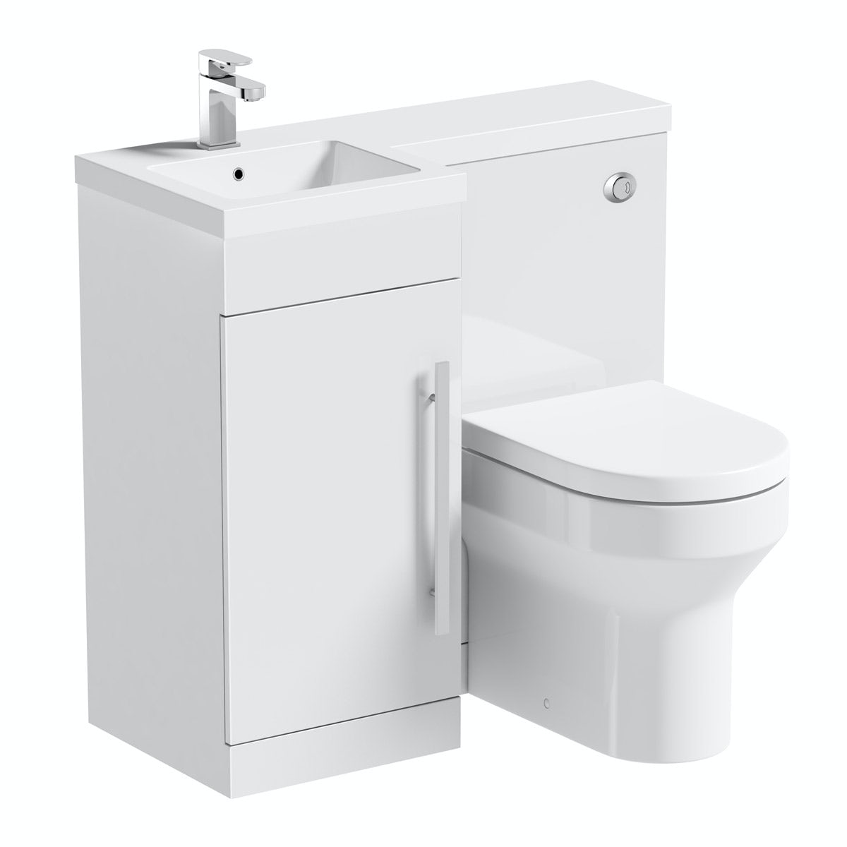 Orchard MySpace White Left Handed Unit With Oakley Back To Wall Toilet