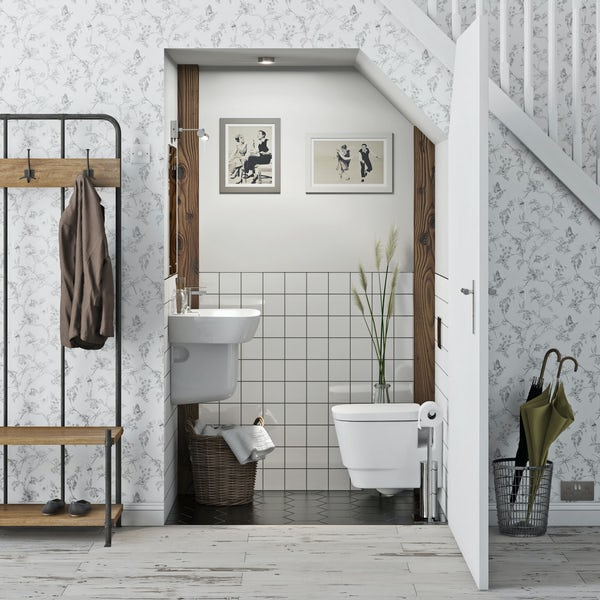 Mode Foster cloakroom suite with semi pedestal basin 600mm