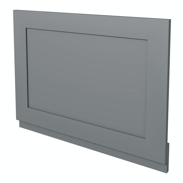 The Bath Co. Camberley satin grey wooden straight bath end panel 700mm