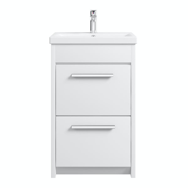 Clarity white vanity drawer unit with basin 500mm