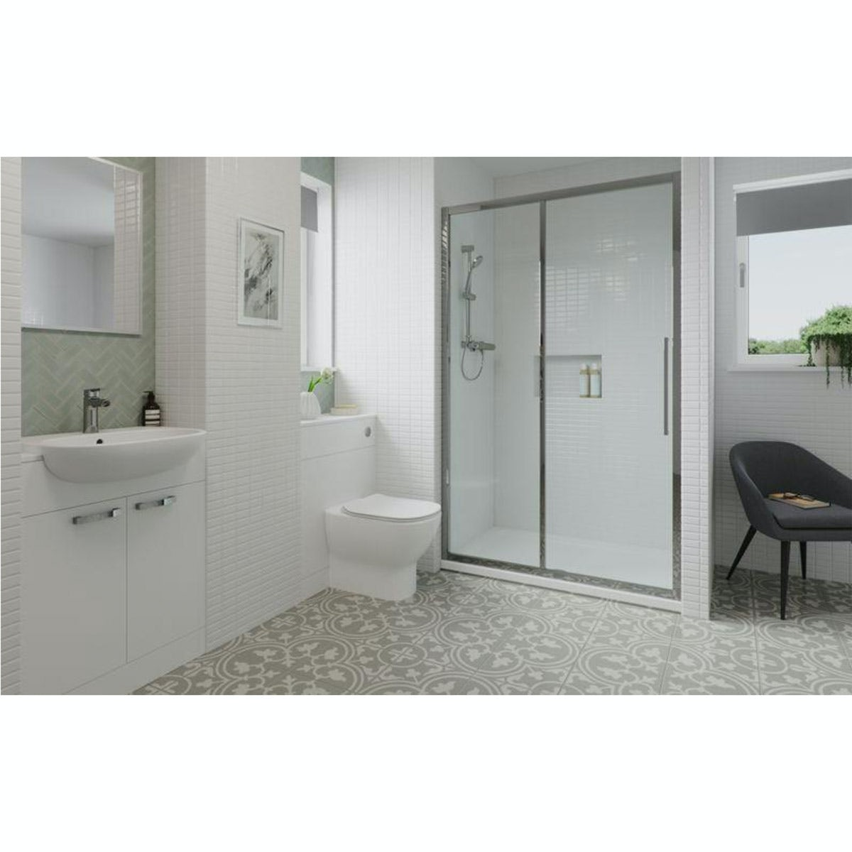 Ideal Standard Tesi ensuite suite with enclosure, furniture set, tray, shower, taps and waste